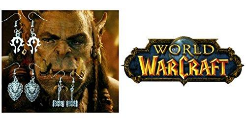 J&C Family OwnedWorld of Warcraft Horde - Alliance - Doomhammer (3-Pair ) Cute Girl Charm Earrings