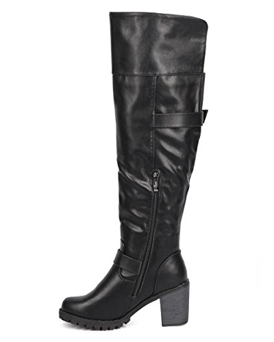 Dbdk Dc99 Mujer Leatherette Rodilla Alto Con Cinturón De Tacón Grueso Riding Bota Black