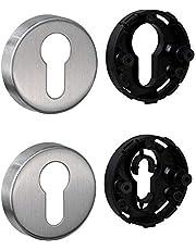JUVA Cilinderrozet roestvrij staal mat deurrozet rond - H8250 | PZ-cilinder binnendeur incl. bevestigingsmateriaal | sleutelrozet roestvrij staal massief | 1 paar - deur-rozettenpaar afdekking voor kamerdeuren