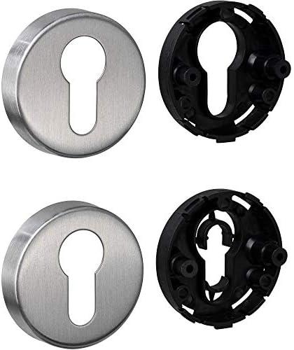 JUVA Cilinderrozet roestvrij staal mat deurrozet rondH8250PZcilinder binnendeur incl bevestigingsmateriaalsleutelrozet roestvrij staal massief1 paardeurrozettenpaar afdekking voor kamerdeuren