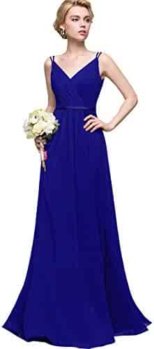 60b9c7d0287 Women s V-Neck Bridesmaid Dress Long Formal Pleated A-line Chiffon Evening  Gown with