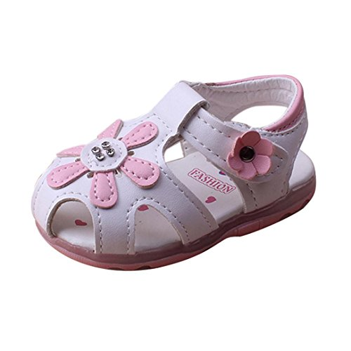 Princess Schuhe für 3 ~ 5.5 Jahre Baby Girls, Simonabo Kid Summer Soft-soled shoes Kleinkind Lighted Sunflower (21, Weiß)