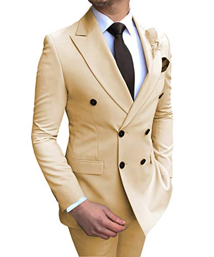 Double Breasted Suit - Aesido Men's Suits 2 Pieces Double Breasted Regular Fit Notch Lapel Solid Prom Tuxedos Wedding (Blazer+Pants)(Champagne,44US)