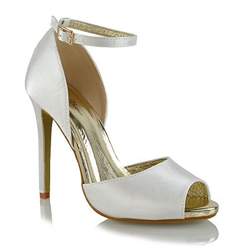 Essex Glam Womens High Heel Peep Toe Ankle Strap Ivory Satin Part Shoes 6 B(M) US Ivory Satin Wedding Shoes