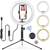 "10"" Desktop Ring Light with Adjustable Tripod Stand, Flexible Phone Holder, Bluetooth Remote Shutter for Live Stream/Makeup/YouTube Video/Photography, Compatible with iPhone Xs Max XR Android"