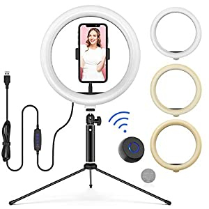 "10"" LED Ring Light with Tripod Stand Adjustable & Phone Holder, Bluetooth Remote Shutter for Makeup/Live Stream/YouTube…"
