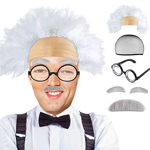 Beelittle Old Man Mad Scientist Wig Set Einstien Franklin Grandpa Costume(B) -