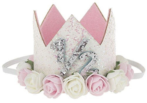 Petitebella Glitter Rose White Crown Headband Clothing Accessory For Girl (Half)