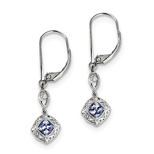 Sterling Silver Tanzanite Lever Back Earrings by CoutureJewelers