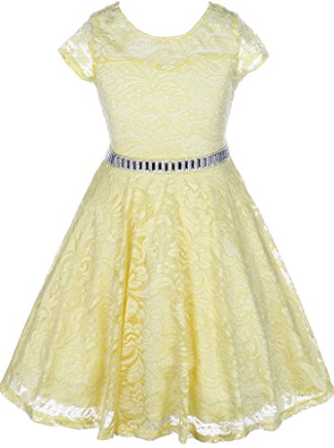 Flower Girl Dress Cap Sleeve Jewel Belt Floral Lace All Over for Little Girl Yellow 4 JK19.88S