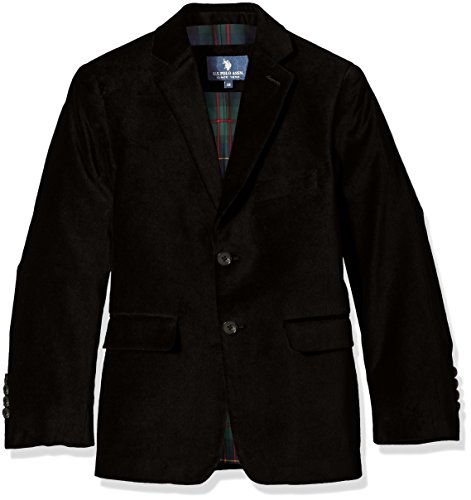 U.S. POLO ASSN. Boys' Sport Coat, CDM3010J-Velvet-Black, 12 (Boy Blazers On Sale)