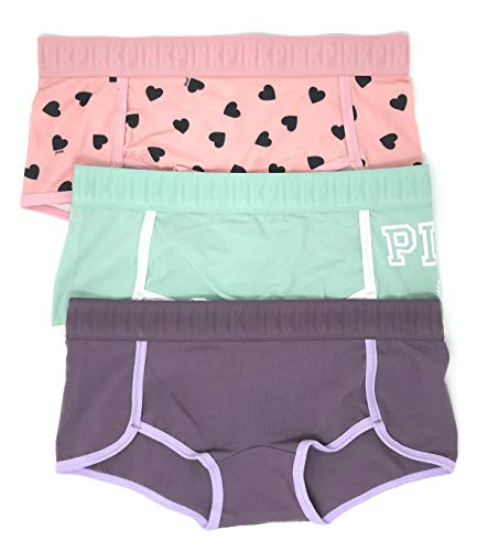 - Victoria's Secret Pink Boyshort Panty Set of 3 Medium Pink Hearts/Mint Logo/Mauve Logo