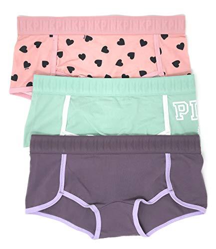 Victoria's Secret Pink Boyshort Panty Set of 3 Medium Pink Hearts/Mint Logo/Mauve ()
