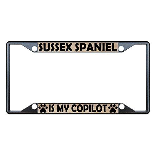 Sign Destination Metal License Plate Frame 4 Holes Sussex Spaniel Dogs Car Auto Tag Holder - Black, Set of 2