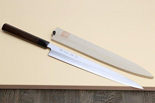 Yoshihiro Shiroko High Carbon Steel Kasumi Yanagi Shitan Handle Sushi Sashimi Chef's Knife 11.8