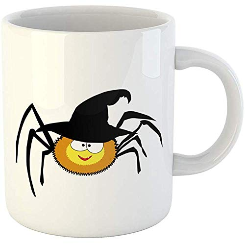 - 11 Ounces Coffee Tea Mug Gifts Funny Ceramic Cute Funny Yellow Smiling Spider Wearing Black Halloween Witch Hat Cartoon Gifts For Family Friends Coworkers Boss Mug