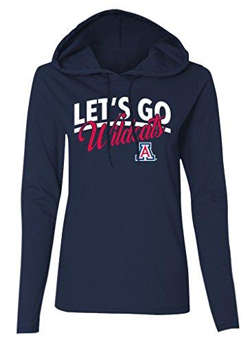 (Old Varsity Brand NCAA Arizona Wildcats Women's Long Sleeve Hooded T-Shirt, Navy, X-Large)