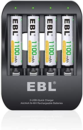EBL AAA Rechargeable Batteries 1100mAh (4 Counts) and Quick Smart Battery Charger - 2 Hours Fully Charged, 2 USB Input Ports, More Convenient and Rapid …