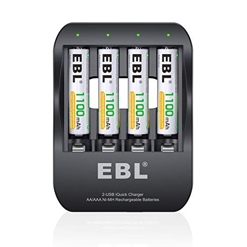 EBL Smart AA AAA Battery Charger 2 Hours Ni-MH Battery Charger iQuick Tech USB-Input with Rechargeable AAA Batteries 1100mAh, 4-Counts ()