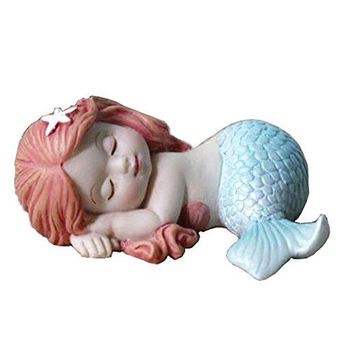 Miniature Fairy Garden and Aquarium Decorations Resin Sleeping Little Mermaid Statue Blue