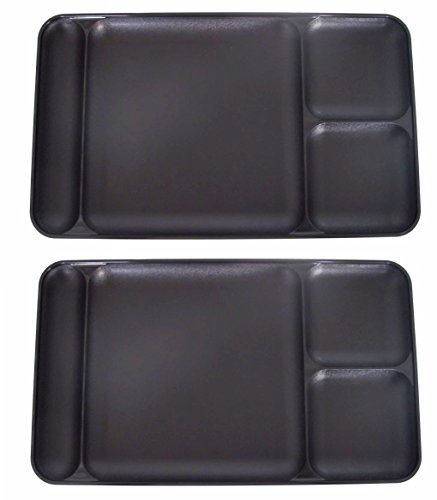 Set of 2 Tupperware Divided Dining TV Trays Picnic Kids Lunch Plates in Black