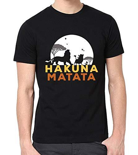 Hakuna Matata Shirts for Men - Adult Lion King Funny Simba Mufasa Black Shirt (XS)