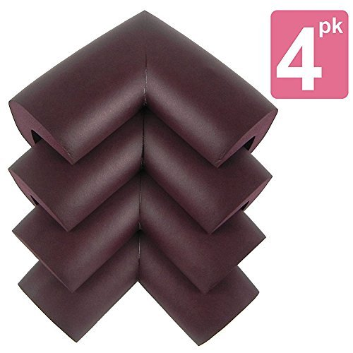 My Baby Table Corner Guard - Most Revolutionary Corner Protector to Safeguard Your Family from Sharp Corners | Special Set of 4 | Extremely Beautiful That Fits in Every Colors Table | Extra Durable, Sturdy, Safe and Soft NBR Material | Quick Installation with Double-Sided Adhesive and Press | Dark Brown | 252