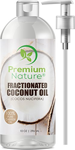 Fractionated Coconut Oil Massage Oils - Liquid MCT Natural & Pure Body Oil Carrier Massage Oil - for Hair & Skin 10 Oz Clear Pump Included Premium Nature