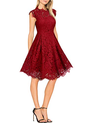 WOOSUNZE Women's Sleeveless Crew Neck Lace Floral Elegant Cocktail Party Swing Dress Burgundy ()