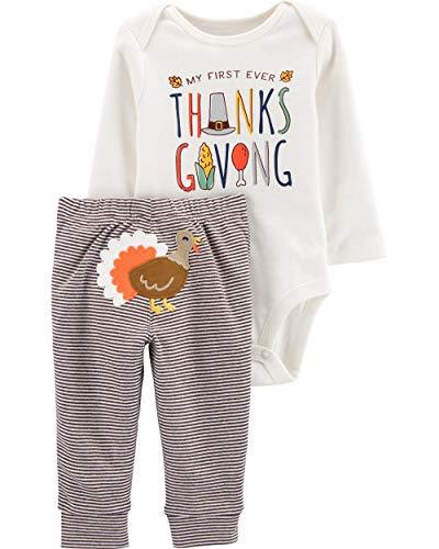 Carter's Baby 2-Piece Thanksgiving Bodysuit Pant Set (9 Months, Brown/Vanilla