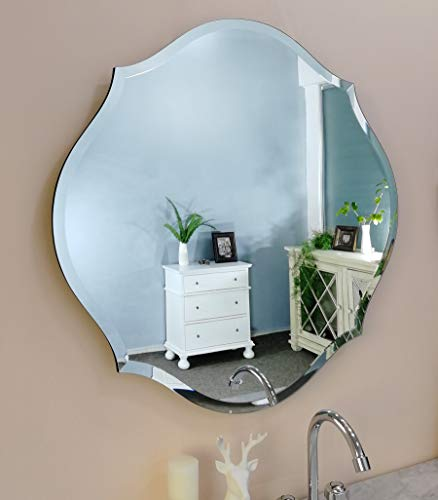 MIRROR TREND 28-Inches Gentle Scalloped Frameless Beveled Mirrors for Bathroom Silver Mirror - Mission Bathroom Mirrors