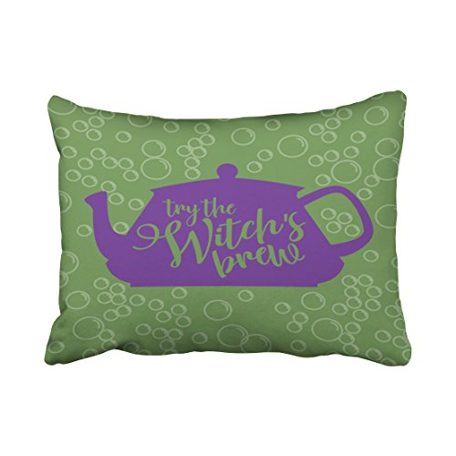 Accrocn Halloween Witchs Brew Teapot Pillow Covers Cushion Cover Case 20X26 Inches Pillowcases One Sided