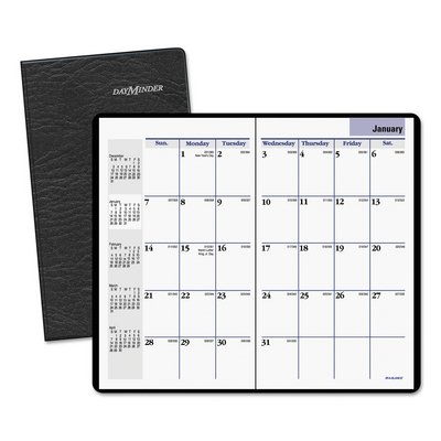 AAGSK5300-3 5/8 x 6 1/16 - DayMinder Pocket-Size Unruled Monthly Planner with Stitched Vinyl Cover - Each ()