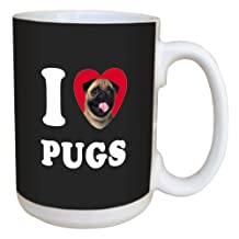 Tree-Free Greetings LM45106 I Heart Pugs Ceramic Mug with Full-Sized Handle, 15-Ounce, Tan and Black