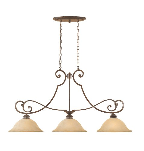 (Designers Fountain 81838-FSN Mendocino Collection 3-Light Island Fixture, Forged Sienna Finish with Warm Amber Glaze Glass Shades )