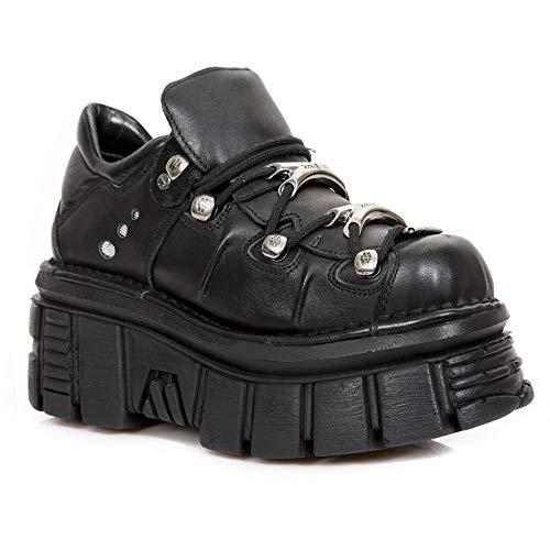 Hombre Piel Plataforma Botas Unisex New s1 Negro Botines Gotico Heavy Punk 120xy M Mujer Rock Cuero qwW8RCa