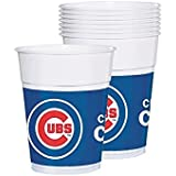 Licensed MLB Chicago Cubs Party Cups Tableware, Plastic, 16 Ounces, Pack of 25
