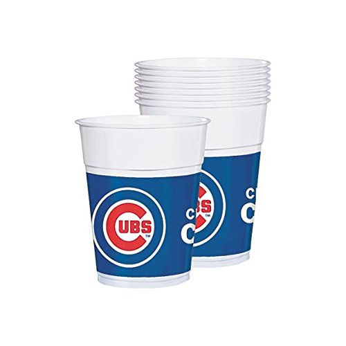 Licensed MLB Chicago Cubs Party Cups Tableware, Plastic, 16 Ounces, Pack of 25 by Amscan