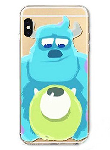 DECO FAIRY Compatible with iPhone X / Xs , Cartoon Anime Animated Blue Monster BFF Transparent Translucent Flexible Silicone Cover Case (Iphone 5 Hello Kitty Monster Inc)