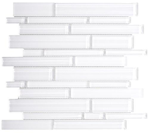 WS Tiles: Interlocking Random White Glass, Backsplash, Mesh-Mounted Mosaic Tile for Kitchen & Bathroom - 12 in x 12 in x 8mm - Pack of 5 (Pool Tile Installation)