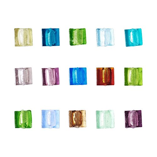 Mixed Lampwork Beads Glass (Beadthoven 200pcs Handmade Silver Foil Lampwork Glass Beads Mixed Square)