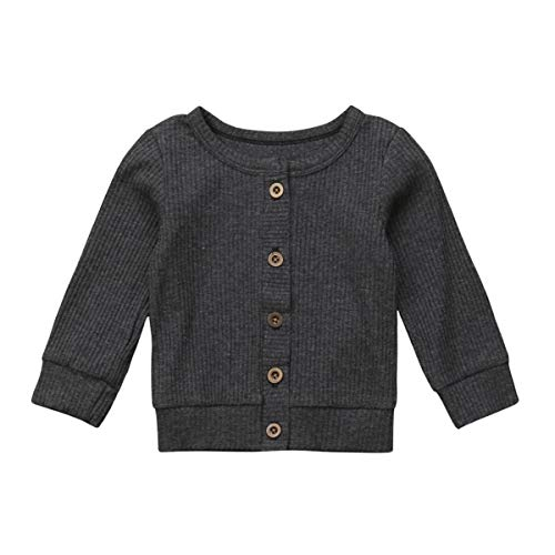 Baby Girl Button Down Knitwear Long Sleeve Soft Basic Knit Snap Jacket Cardigan Sweater Coat (12-18 Months, Grey) ()