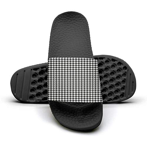 Men's Slides Shoes Custom Plaid Printing Small Houndstooth Black and White Sandals Extra-Soft Beach Flip Flops