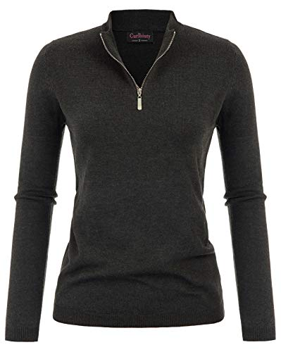 (CURLBIUTY Women's 1/4 Quarter Zip Long Sleeves Solid Pullover Dark Charcoal XXL)