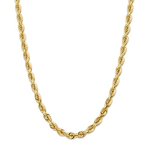 14k Gold 7mm D/C Rope with Barrel Clasp Chain 22 Inches