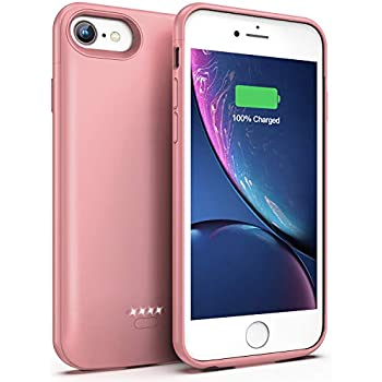 Lonlif Battery Case for iPhone 7/8, 4000mAh Portable Protective Charging Case Compatible with iPhone 7/8 (4.7 inch) Rechargeable Extended Battery Charger Case (Rose Gold)