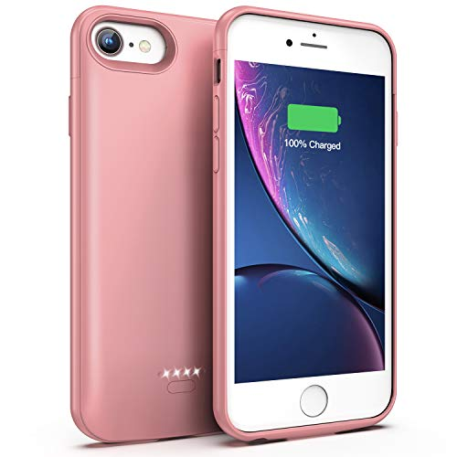 Battery Case for iPhone 7/8, 4000mAh Portable Protective Charging Case Compatible with iPhone 7/8 (4.7 inch) Rechargeable Extended Battery Charger Case (Rose Gold) (Iphone 5 Battery Case Pink)