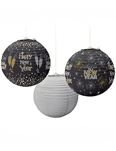 Set of 3 Happy New Year Lanterns - Black, Silver, Gold - 9.5 Inches ()