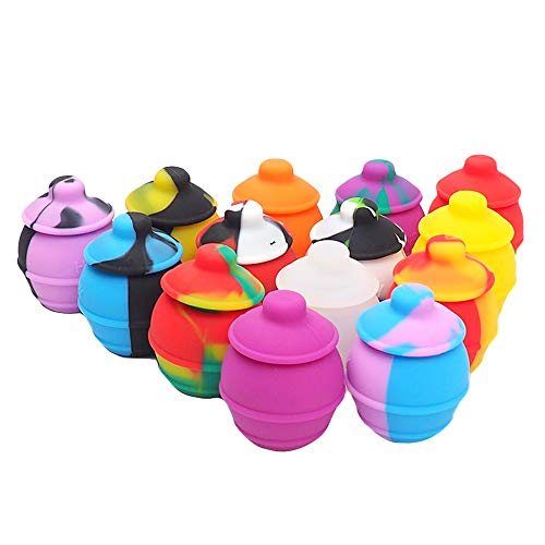 YHSWE 3Pcs 35ml Honey Pots Silicone Wax Container Non stick Storage Oil Jar Multi Color Randomly ()