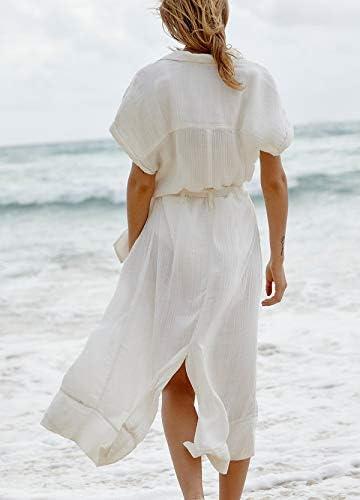 Wander Agio Womens Bikini Cover Ups Beach Casual Dress Coverup Swimsuits Long Cardigan Button